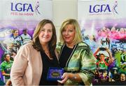 16 September 2018; 1993 Jubilee Team are honoured ahead of the TG4 All-Ireland Ladies Football Senior Championship Final match between Cork and Dublin. Pictured, LFGA President Marie Hickey makes a presentation to Aileen Kelliher of Kerry at Croke Park in Dublin. Photo by Sam Barnes/Sportsfile