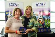 16 September 2018; 1993 Jubilee Team are honoured ahead of the TG4 All-Ireland Ladies Football Senior Championship Final match between Cork and Dublin. Pictured, LFGA President Marie Hickey, right, makes a presentation to Margaret Phelan of Laois at Croke Park in Dublin. Photo by Sam Barnes/Sportsfile