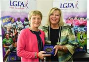16 September 2018; 1993 Jubilee Team are honoured ahead of the TG4 All-Ireland Ladies Football Senior Championship Final match between Cork and Dublin. Pictured, LFGA President Marie Hickey, right, makes a presentation to Margaret Brennan of Laois at Croke Park in Dublin. Photo by Sam Barnes/Sportsfile