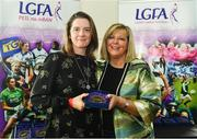 16 September 2018; 1993 Jubilee Team are honoured ahead of the TG4 All-Ireland Ladies Football Senior Championship Final match between Cork and Dublin. Pictured, LFGA President Marie Hickey, right, makes a presentation to Elizabeth Fizpatrick of Laois at Croke Park in Dublin. Photo by Sam Barnes/Sportsfile