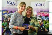 16 September 2018; 1993 Jubilee Team are honoured ahead of the TG4 All-Ireland Ladies Football Senior Championship Final match between Cork and Dublin. Pictured, LFGA President Marie Hickey, right, makes a presentation to Nuala Meade of Laois at Croke Park in Dublin. Photo by Sam Barnes/Sportsfile