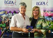 16 September 2018; 1993 Jubilee Team are honoured ahead of the TG4 All-Ireland Ladies Football Senior Championship Final match between Cork and Dublin. Pictured, LFGA President Marie Hickey makes a presentation to Kathleen Curran of Kerry at Croke Park in Dublin. Photo by Sam Barnes/Sportsfile