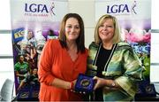 16 September 2018; 1993 Jubilee Team are honoured ahead of the TG4 All-Ireland Ladies Football Senior Championship Final match between Cork and Dublin. Pictured, LFGA President Marie Hickey, right, makes a presentation to Elizabeth Kehoe of Laois at Croke Park in Dublin. Photo by Sam Barnes/Sportsfile