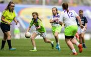 16 September 2018; Action from the match between Mount Leinster Rangers and Kilmovee Shamrock's during the Half-time GO Games during the TG4 All-Ireland Ladies Football Championship Finals at Croke Park, Dublin. Photo by David Fitzgerald/Sportsfile