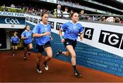 16 September 2018; Aoife Kane, left, and Deirdre Murphy of Dublin make their way on to the pitch ahead the TG4 All-Ireland Ladies Football Senior Championship Final match between Cork and Dublin at Croke Park, Dublin. Photo by Sam Barnes/Sportsfile