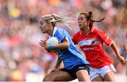 16 September 2018; Nicole Owens of Dublin in action against Emma Spillane of Cork during the TG4 All-Ireland Ladies Football Senior Championship Final match between Cork and Dublin at Croke Park, Dublin. Photo by Sam Barnes/Sportsfile