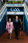 16 September 2018; Taoiseach Leo Varadkar, T.D., and LGFA CEO Helen O'Rourke, ahead of the TG4 All-Ireland Ladies Football Senior Championship Final match between Cork and Dublin at Croke Park, Dublin. Photo by Sam Barnes/Sportsfile
