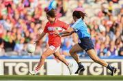 16 September 2018; Eimear Scally of Cork in action against Siobhán McGrath of Dublin during the TG4 All-Ireland Ladies Football Senior Championship Final match between Cork and Dublin at Croke Park, Dublin. Photo by Sam Barnes/Sportsfile