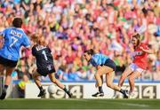 16 September 2018; Eimear Scally of Cork takes a shot on goal, which is cleared off the line by Niamh Collins of Dublin, far left, as Ciara Trant and Siobhán McGrath of Dublin watch on, during the TG4 All-Ireland Ladies Football Senior Championship Final match between Cork and Dublin at Croke Park, Dublin. Photo by Sam Barnes/Sportsfile