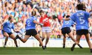 16 September 2018; Ciara O'Sullivan of Cork in action against, from left, Sinéad Finnegan, Martha Byrne, Olwen Carey and Sinéad Goldrick of Dublin during the TG4 All-Ireland Ladies Football Senior Championship Final match between Cork and Dublin at Croke Park, Dublin. Photo by Sam Barnes/Sportsfile