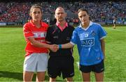 16 September 2018; Referee Garryown Mc Mahon with team captains Ciara O'Sullivan of Cork and Sinéad Aherne of Dublin before the TG4 All-Ireland Ladies Football Senior Championship Final match between Cork and Dublin at Croke Park, Dublin. Photo by Piaras Ó Mídheach/Sportsfile