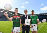 18 September 2018; Stephen Coen of Mayo, left, Seamus Hickey, CEO of the GPA, centre, and Séamus Flanagan of Limerick in attendance during the launch of the ESRI Report into Playing Senior Intercounty Gaelic Games at Croke Park in Dublin. Photo by Sam Barnes/Sportsfile