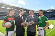 18 September 2018; Stephen Coen of Mayo, left, Seamus Hickey, CEO of the GPA, second from left, Uachtarán Chumann Lúthchleas Gael John Horan, second from right, and Séamus Flanagan of Limerick in attendance during the launch of the ESRI Report into Playing Senior Intercounty Gaelic Games at Croke Park in Dublin. Photo by Sam Barnes/Sportsfile