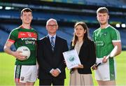 18 September 2018; Stephen Coen of Mayo, left, Alan Barrett, Director of the ESRI, second from left, Elish Kelly, Senior Research Officer, ESRI, and Séamus Flanagan of Limerick in attendance during the launch of the ESRI Report into Playing Senior Intercounty Gaelic Games at Croke Park in Dublin. Photo by Sam Barnes/Sportsfile