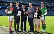 18 September 2018; Attendees, from left, Stephen Coen of Mayo, Seamus Hickey, CEO of the GPA, Alan Barrett, Director of the ESRI, Uachtarán Chumann Lúthchleas Gael John Horan, Elish Kelly, Senior Research Officer, ESRI and Séamus Flanagan of Limerick during the launch of the ESRI Report into Playing Senior Intercounty Gaelic Games at Croke Park in Dublin. Photo by Sam Barnes/Sportsfile