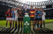 18 September 2018; All-Ireland players, from left, Daire Feeney of UCC, Mick Noone of Clontarf, Alan Fitzgerald of Garryowen, Colm Hogan of TCD, Alan Kennedy of Young Munster, President of IRFU Ian McIlrath, Jack O Sullivan of Lansdowne, Will Leonard of Shannon, Stephen McVeigh of UCD, Michael Melia of Terenure College and Gary Bradley of Cork Constitution during the All-Ireland League and Women's All-Ireland League 2018/19 Season launch at the Aviva Stadium in Dublin. Photo by Harry Murphy/Sportsfile