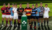 18 September 2018; All-Ireland players, from left, Daire Feeney of UCC, Mick Noone of Clontarf, Alan Fitzgerald of Garryowen, Colm Hogan of TCD, Alan Kennedy of Young Munster, Jack O Sullivan of Lansdowne, Will Leonard of Shannon, Stephen McVeigh of UCD, Michael Melia of Terenure College and Gary Bradley of Cork Constitution during the All-Ireland League and Women's All-Ireland League 2018/19 Season launch at the Aviva Stadium in Dublin. Photo by Harry Murphy/Sportsfile