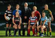 18 September 2018; Women's All-Ireland players, from left, Oonagh Hynes of Old Belvedere R.F.C., Beth Cregan of Cooke R.F.C., Aoife Moore of St Marys College R.F.C., with President of IRFU Ian McIlrath, Michelle Claffey of Blackrock College R.F.C., Fiona Hayes of UL Bohemians R.F.C., Mary Healy of Galwegians R.F.C. and Daisy Earle of Railway Union R.F.C. during the All-Ireland League and Women's All-Ireland League 2018/19 Season launch at the Aviva Stadium in Dublin. Photo by Harry Murphy/Sportsfile