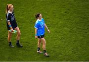 16 September 2018; Dublin players Ciara Trant, left, and Sinéad Aherne during the TG4 All-Ireland Ladies Football Senior Championship Final match between Cork and Dublin at Croke Park, Dublin. Photo by Piaras Ó Mídheach/Sportsfile
