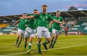 18 September 2018; Matt Everitt of Republic of Ireland celebrates with team-mate Seamas Keogh after scoring his side's first goal during the Under 17 International Friendly match between Republic of Ireland and Turkey at Tallaght Stadium in Tallaght, Dublin. Photo by Eóin Noonan/Sportsfile
