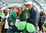 19 September 2018; Sam Watson with his wife Hannah and sons Archie, age 5, left, and Toby, age 4, during an Irish Eventing Team welcome home at Dublin Airport in Dublin. Photo by Eóin Noonan/Sportsfile