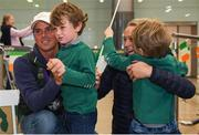 19 September 2018; Sam Watson with his son Archie, age 5, and Hannah Watson with her son Toby, age 4, during an Irish Eventing Team welcome home at Dublin Airport in Dublin. Photo by Eóin Noonan/Sportsfile