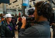 19 September 2018; Sarah Ennis speaking to media during an Irish Eventing Team welcome home at Dublin Airport in Dublin. Photo by Eóin Noonan/Sportsfile