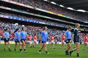 16 September 2018; The Dublin team during the pre-match parade prior to the TG4 All-Ireland Ladies Football Senior Championship Final match between Cork and Dublin at Croke Park, Dublin. Photo by Brendan Moran/Sportsfile