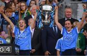 16 September 2018; Dublin players Nicole Owens, left, and Niamh McEvoy celebrate with the Brendan Martin cup after the TG4 All-Ireland Ladies Football Senior Championship Final match between Cork and Dublin at Croke Park, Dublin. Photo by Brendan Moran/Sportsfile