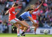 16 September 2018; Eimear Scally of Cork in action against Siobhán McGrath of Dublin during the TG4 All-Ireland Ladies Football Senior Championship Final match between Cork and Dublin at Croke Park, Dublin. Photo by Brendan Moran/Sportsfile