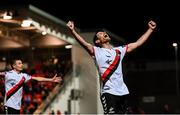 19 September 2018; Dinny Corcoran of Bohemians celebrates after scoring his side's third goal during the Irish Daily Mail FAI Cup Quarter-Final match between Derry City and Bohemians at the Brandywell Stadium in Derry. Photo by Stephen McCarthy/Sportsfile