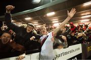 19 September 2018; Daniel Kelly celebrates with Bohemians supporters following the Irish Daily Mail FAI Cup Quarter-Final match between Derry City and Bohemians at the Brandywell Stadium in Derry. Photo by Stephen McCarthy/Sportsfile