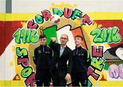 20 September 2018; Republic of Ireland manager Martin O'Neill, with footballers Ben McCormack, left, and Daniel Wilson, right, during a visit to the FAI and Fingal County Council Transition Year Football Development Course at Corduff Sports Centre in Blanchardstown, Dublin. Photo by Stephen McCarthy/Sportsfile