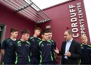 20 September 2018; Republic of Ireland manager Martin O'Neill speaking with students during a visit to the FAI and Fingal County Council Transition Year Football Development Course at Corduff Sports Centre in Blanchardstown, Dublin. Photo by Stephen McCarthy/Sportsfile