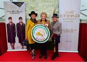 20 September 2018; Winner of the Etihad Airways Best Dressed 'Country Style' competition, Evelyn Johnston, from Co Clare, left, and runner up Mary O'Halloran, from Co Dublin, right, alongside, MD of the National Ploughing Association Anna May McHugh at the National Ploughing Championship in Screggan, Tullamore, Co. Offaly. This year's prize includes two return economy flights from Dublin to Abu Dhabi, a two-night stay in the luxury 5-Star Emirates Palace, a two-night stay in the prominent 5-Star Anantara Eastern Mangroves & Spa Hotel and two complimentary passes for Yas Island. Photo by David Fitzgerald/Sportsfile