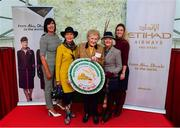 20 September 2018; Finalists of the Etihad Airways Best Dressed 'Country Style' competition, Evelyn Johnston, from Co Clare, second from left, and Mary O'Halloran, from Co Dublin, second from right, alongside, from left, Fashion Show Director, Brigid Dooley-Kealey, MD of the National Ploughing Association Anna May McHugh and Shannon O'Dowd of Etihad Airways at the National Ploughing Championship in Screggan, Tullamore, Co. Offaly. This year's prize includes two return economy flights from Dublin to Abu Dhabi, a two-night stay in the luxury 5-Star Emirates Palace, a two-night stay in the prominent 5-Star Anantara Eastern Mangroves & Spa Hotel and two complimentary passes for Yas Island. Photo by David Fitzgerald/Sportsfile