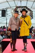 20 September 2018; Winner of the Etihad Airways Best Dressed 'Country Style' competition, Evelyn Johnston, from Co Clare, right, and runner up Mary O'Halloran, from Co Dublin at the National Ploughing Championship in Screggan, Tullamore, Co. Offaly. This year's prize includes two return economy flights from Dublin to Abu Dhabi, a two-night stay in the luxury 5-Star Emirates Palace, a two-night stay in the prominent 5-Star Anantara Eastern Mangroves & Spa Hotel and two complimentary passes for Yas Island. Photo by David Fitzgerald/Sportsfile
