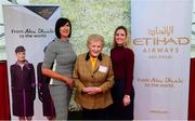 20 September 2018; Fashion Show Director, Brigid Dooley-Kealey, left, MD of the National Ploughing Association Anna May McHugh and Shannon O'Dowd of Etihad Airways, right, at the National Ploughing Championship in Screggan, Tullamore, Co. Offaly. This year's prize includes two return economy flights from Dublin to Abu Dhabi, a two-night stay in the luxury 5-Star Emirates Palace, a two-night stay in the prominent 5-Star Anantara Eastern Mangroves & Spa Hotel and two complimentary passes for Yas Island. Photo by David Fitzgerald/Sportsfile