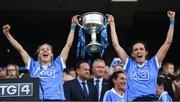 16 September 2018; Nicole Owens, left, and Niamh McEvoy of Dublin lift the Brendan Martin cup following the TG4 All-Ireland Ladies Football Senior Championship Final match between Cork and Dublin at Croke Park, Dublin. Photo by David Fitzgerald/Sportsfile
