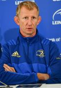 21 September 2018; Head coach Leo Cullen during a Leinster rugby press conference at the InterContinental Dublin in Ballsbridge, Dublin. Photo by Ramsey Cardy/Sportsfile