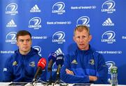 21 September 2018; Luke McGrath, left, and Head coach Leo Cullen during a Leinster rugby press conference at the InterContinental Dublin in Ballsbridge, Dublin. Photo by Ramsey Cardy/Sportsfile