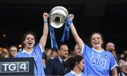 16 September 2018; Noelle Healy, left, and Deirdre Murphy of Dublin lift the Brendan Martin cup following the TG4 All-Ireland Ladies Football Senior Championship Final match between Cork and Dublin at Croke Park, Dublin. Photo by David Fitzgerald/Sportsfile