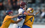 21 September 2018; Thomas Connolly of St Vincent's in action against Daire O'Maoileidigh, left, and Conor Kelly of Na Fianna during the Dublin County Senior Club Hurling Championship Quarter-Final match between St Vincent's and Na Fianna at Parnell Park, Dublin. Photo by Piaras Ó Mídheach/Sportsfile