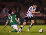 21 September 2018; Brian Gartland of Dundalk in action against Ronan Coughlan of Cork City during the SSE Airtricity League Premier Division match between Cork City and Dundalk at Turners Cross in Cork. Photo by Stephen McCarthy/Sportsfile
