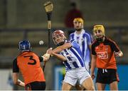 21 September 2018; Colm O'Neill of Ballyboden St Enda's in action against Cormac O'Brien, left, and Rob Aherne of Ballinteer St John's during the Dublin County Senior Club Hurling Championship Quarter-Final match between Ballyboden St Enda's and Ballinteer St John's at Parnell Park, Dublin. Photo by Piaras Ó Mídheach/Sportsfile