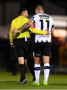 21 September 2018; Patrick McEleney of Dundalk and referee Neil Doyle during the SSE Airtricity League Premier Division match between Cork City and Dundalk at Turners Cross in Cork. Photo by Stephen McCarthy/Sportsfile