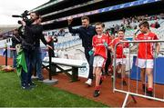 22 September 2018; The 2 Johnnies run out to the pitch with players from Bohola Moy Davitts, Co. Mayo during the Littlewoods Ireland Connacht Provincial Days Go Games in Croke Park. This year over 6,000 boys and girls aged between six and eleven represented their clubs in a series of mini blitzes and – just like their heroes – got to play in Croke Park. For exclusive content and behind the scenes action follow Littlewoods Ireland on Facebook, Instagram, Twitter and https://blog.littlewoodsireland.ie/ Photo by Eóin Noonan/Sportsfile