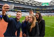 22 September 2018; The 2 Johnnies take a selfie with supporters from Caltra, Co. Galway during the Littlewoods Ireland Connacht Provincial Days Go Games in Croke Park. This year over 6,000 boys and girls aged between six and eleven represented their clubs in a series of mini blitzes and – just like their heroes – got to play in Croke Park. For exclusive content and behind the scenes action follow Littlewoods Ireland on Facebook, Instagram, Twitter and https://blog.littlewoodsireland.ie/ Photo by Eóin Noonan/Sportsfile