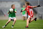 22 September 2018; Conor Leinihan of St. Molaise Gaels, Co. Sligo in action against Adam Conlon of Bohola Moy Davitts, Co. Mayo during the Littlewoods Ireland Connacht Provincial Days Go Games in Croke Park. This year over 6,000 boys and girls aged between six and eleven represented their clubs in a series of mini blitzes and – just like their heroes – got to play in Croke Park. For exclusive content and behind the scenes action follow Littlewoods Ireland on Facebook, Instagram, Twitter and https://blog.littlewoodsireland.ie/ Photo by Eóin Noonan/Sportsfile