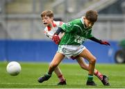 22 September 2018; Daniel Hurley of Caltra, Co. Galway in action against David Cox of St. Faithleachs, Co. Roscommon during the Littlewoods Ireland Connacht Provincial Days Go Games in Croke Park. This year over 6,000 boys and girls aged between six and eleven represented their clubs in a series of mini blitzes and – just like their heroes – got to play in Croke Park. For exclusive content and behind the scenes action follow Littlewoods Ireland on Facebook, Instagram, Twitter and https://blog.littlewoodsireland.ie/ Photo by Eóin Noonan/Sportsfile